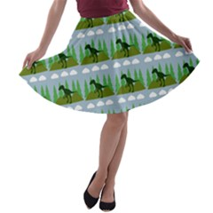 Dino In The Mountains Blue A Line Skater Skirt