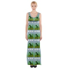 Dino In The Mountains Blue Maxi Thigh Split Dress