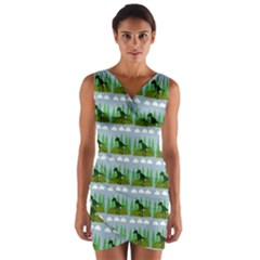 Dino In The Mountains Blue Wrap Front Bodycon Dress