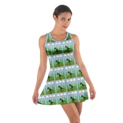 Dino In The Mountains Blue Cotton Racerback Dress