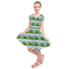 Dino In The Mountains Blue Kids  Short Sleeve Dress