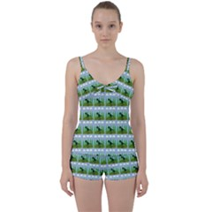 Dino In The Mountains Blue Tie Front Two Piece Tankini