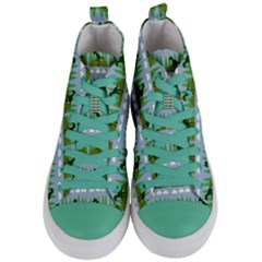 Dino In The Mountains Blue Women s Mid Top Canvas Sneakers