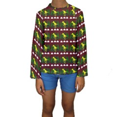 Dino In The Mountains Red Kids  Long Sleeve Swimwear