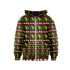Dino In The Mountains Red Kids  Zipper Hoodie