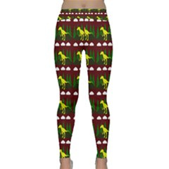Dino In The Mountains Red Classic Yoga Leggings