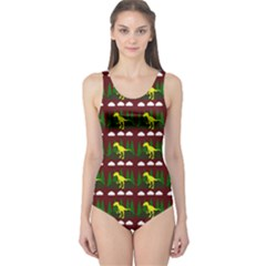 Dino In The Mountains Red One Piece Swimsuit