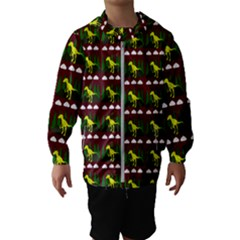 Dino In The Mountains Red Hooded Wind Breaker (kids)