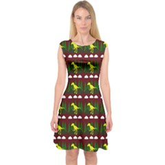 Dino In The Mountains Red Capsleeve Midi Dress