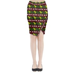 Dino In The Mountains Red Midi Wrap Pencil Skirt