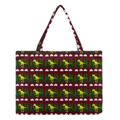 Dino In The Mountains Red Medium Tote Bag