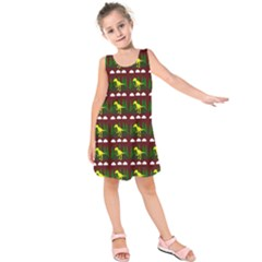 Dino In The Mountains Red Kids  Sleeveless Dress
