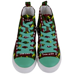 Dino In The Mountains Red Women s Mid Top Canvas Sneakers