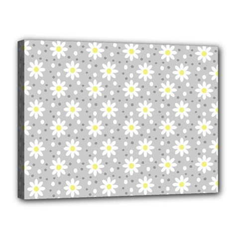 Daisy Dots Grey Canvas 16  X 12