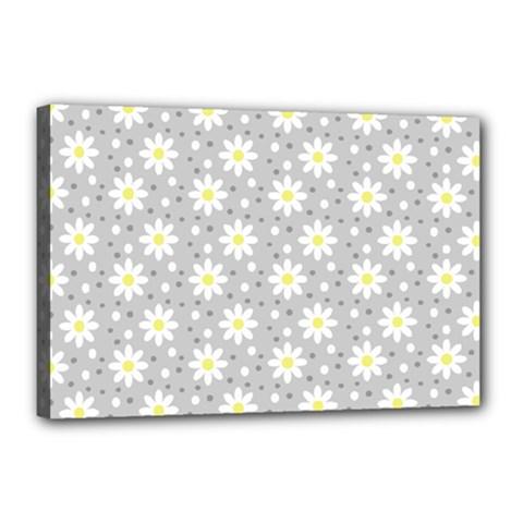 Daisy Dots Grey Canvas 18  X 12
