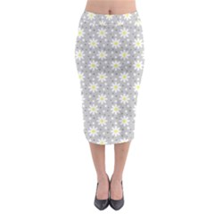 Daisy Dots Grey Midi Pencil Skirt