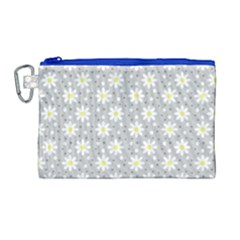 Daisy Dots Grey Canvas Cosmetic Bag (large)