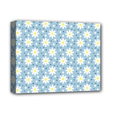 Daisy Dots Light Blue Deluxe Canvas 14  X 11