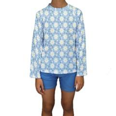 Daisy Dots Light Blue Kids  Long Sleeve Swimwear