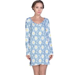 Daisy Dots Light Blue Long Sleeve Nightdress