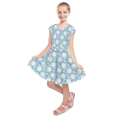 Daisy Dots Light Blue Kids  Short Sleeve Dress