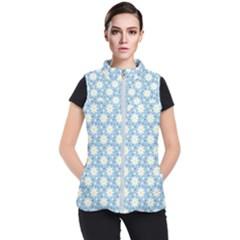 Daisy Dots Light Blue Women s Puffer Vest
