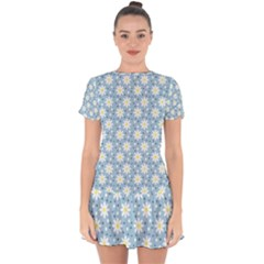 Daisy Dots Light Blue Drop Hem Mini Chiffon Dress