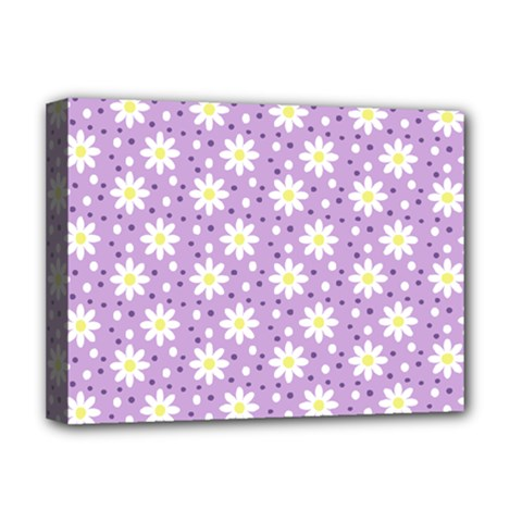 Daisy Dots Lilac Deluxe Canvas 16  X 12