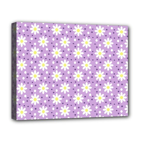 Daisy Dots Lilac Deluxe Canvas 20  X 16
