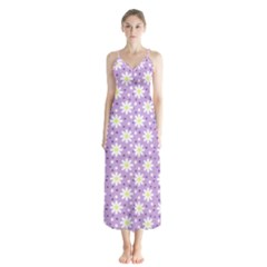 Daisy Dots Lilac Button Up Chiffon Maxi Dress