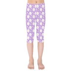 Daisy Dots Lilac Kids  Capri Leggings