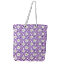Daisy Dots Lilac Full Print Rope Handle Tote (large)