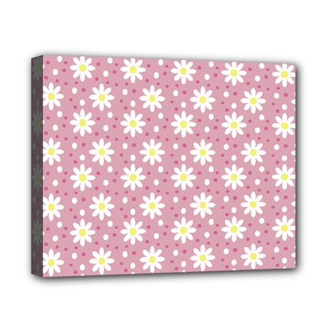 Daisy Dots Pink Canvas 10  X 8