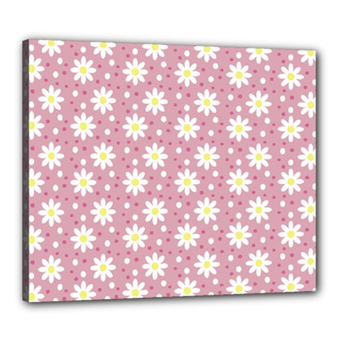 Daisy Dots Pink Canvas 24  X 20