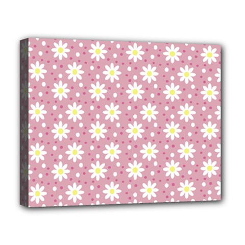 Daisy Dots Pink Deluxe Canvas 20  X 16