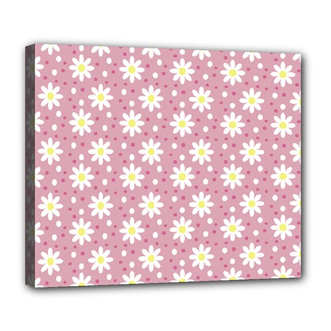 Daisy Dots Pink Deluxe Canvas 24  X 20