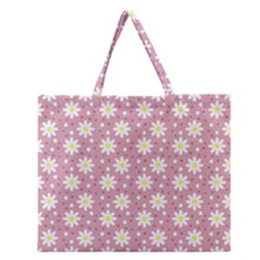 Daisy Dots Pink Zipper Large Tote Bag