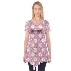 Daisy Dots Pink Short Sleeve Tunic