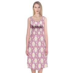 Daisy Dots Pink Midi Sleeveless Dress