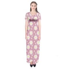 Daisy Dots Pink Short Sleeve Maxi Dress