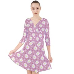 Daisy Dots Pink Quarter Sleeve Front Wrap Dress