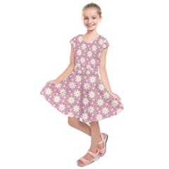 Daisy Dots Pink Kids  Short Sleeve Dress