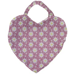 Daisy Dots Pink Giant Heart Shaped Tote