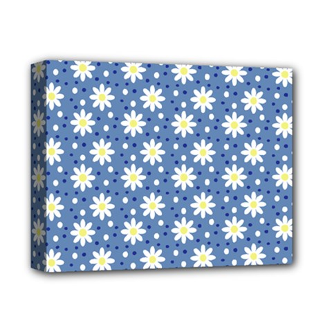 Daisy Dots Blue Deluxe Canvas 14  X 11