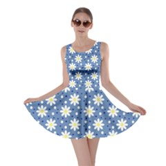 Daisy Dots Blue Skater Dress