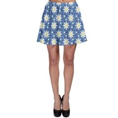 Daisy Dots Blue Skater Skirt