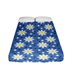 Daisy Dots Blue Fitted Sheet (full/ Double Size)