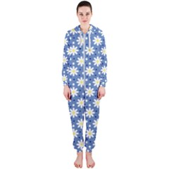 Daisy Dots Blue Hooded Jumpsuit (ladies)