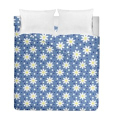 Daisy Dots Blue Duvet Cover Double Side (full/ Double Size)