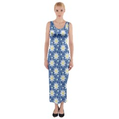 Daisy Dots Blue Fitted Maxi Dress
